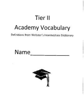 Tier 2 Academic Vocabulary Word List, Glossary, Test Templ