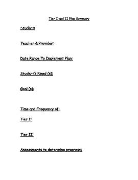 Tier I and II Plan Summary Sheet