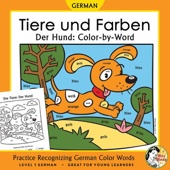 Tiere und Farben: Der Hund ~ German Color Names Color-by-W