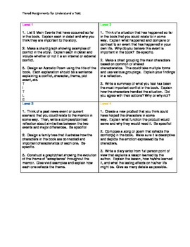 Tiered Assignments for Understanding a Text