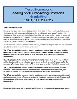 Tiered Homework - Adding and Subtracting Fractions - 5.NF.