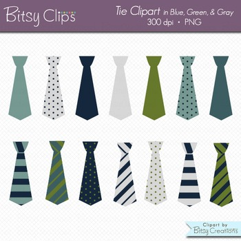 Ties in Blue, Green, and Gray Digital Art Set Clipart Comm