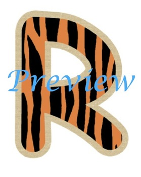 Jungle Tiger Stripes Alphabet Clip Art Set