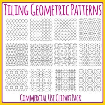 Tiling Geometric Patterns for Color In Clip Art Set for Co
