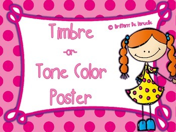 Timbre/Tone Color Posters - Color, black & white, PLUS edi