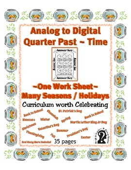 Time ~ Analog to Digital Quarter Past Time ~ One Work Shee