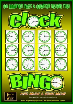 Clock Bingo (Time Bingo) - QUARTER PAST & QUARTER TO - 64