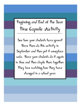 Time Capsule Activity - Beginning of the Year and End of t