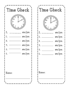 Time Check-Telling Time Practice