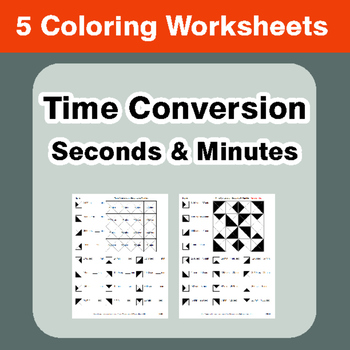 Time Conversion: Seconds & Minutes - Coloring Worksheets