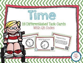 Time Differentiated Task Cards with QR Codes- Clocks and E