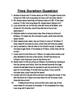 Time Duration Worded Questions