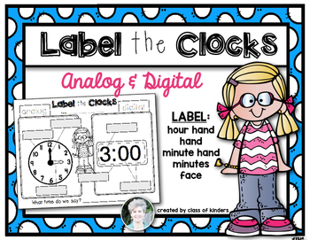 Telling Time Label the Clock for Kindergarten and First Grade