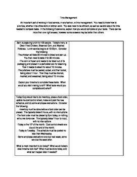 Time Management in Food Service Worksheet