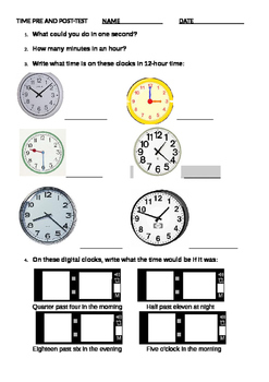 Time Pre and Post Assessment & Short Test Quiz for Grades 2 to 6