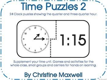Time Puzzles 2 Show Quarter and  Three Quarter Hour   Cloc
