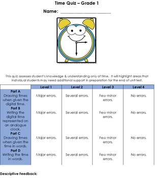 Time Quiz for Grade 1 and Grade 2