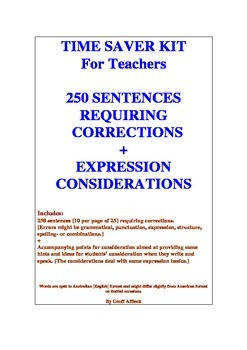 Time Saver Kit  250 Sentences Requiring Corrections + Expr