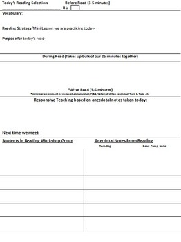 Time Saver for Reading Groups: FREE Reading Workshop Template
