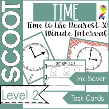 Time Scoot & Task Cards {Nearest 30 minute interval} Math Game