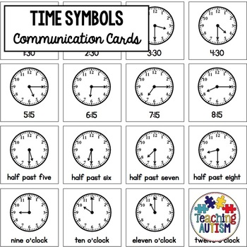 Time Symbol Support Cards - Autism