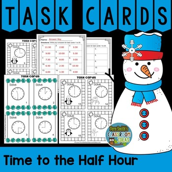 Winter Time to the Half Hour Task Cards