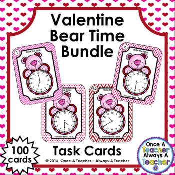 Time Task Cards - Valentine Bear