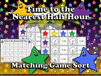 Time: Telling Time to the Nearest Half Hour Matching Game