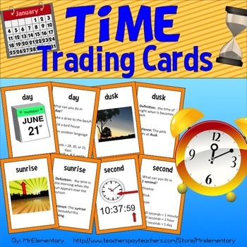 Time Vocabulary Trading Cards
