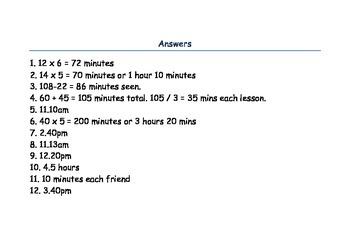 Time Word Problems- Year 3