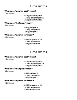 Time Words Study Guide