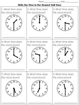 Time: Write the Time to the Nearest Half Hour Practice She