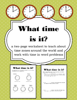 Time Zone & Time Word Problem Worksheets