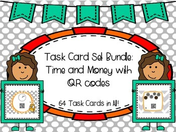 Time and Money Task Cards with QR Codes {BUNDLE} 2nd Gr. C