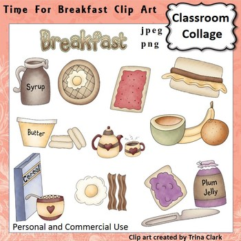 Time for Breakfast Foods Clip Art - Color - personal & com