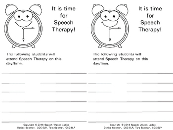 Time for Speech Therapy Teacher Notification