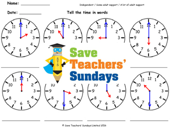 Time in words worksheets (4 levels of difficulty)