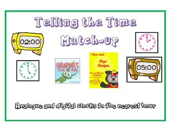 Time match-up cards - To the hour