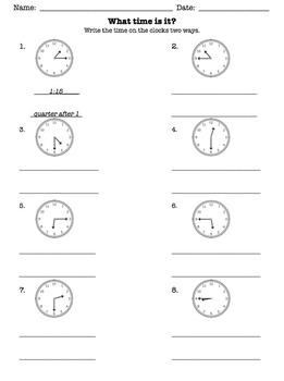 Time: quarter after, half past, quarter to WORKSHEET