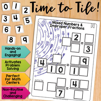Math Tiles: Mixed Numbers and Improper Fractions | Math Centers