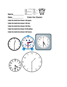 Time to the Half Hour: Color the Clocks