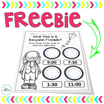 Time to the Hour and Half Hour - A Benjamin Franklin Freebie!