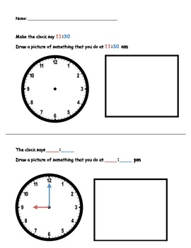 Time to the Hour and Half Hour - Differentiated