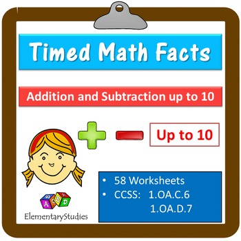 Timed Math Facts Addition and Subtraction