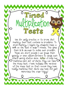 Timed Multiplication Test Practice by Kickin' it With Class ...