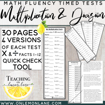 Timed Test Multiplication and Division Facts BUNDLE (1-12)