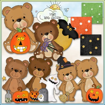 Timeless Teddies Halloween Wishes Clip Art - CU Colored Clip Art