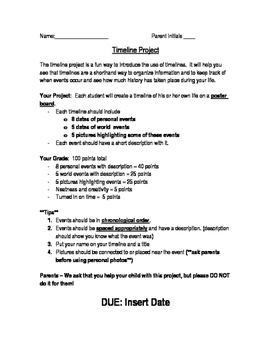 Timeline Project & Rubric ~ Editable