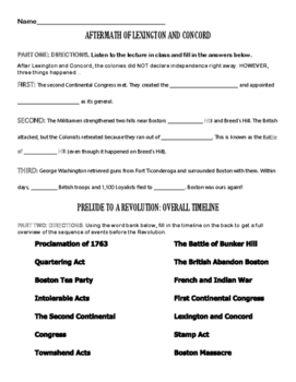 Events Leading to the American Revolution - Guided Notes a