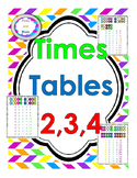 Times Tables 2, 3 and 4